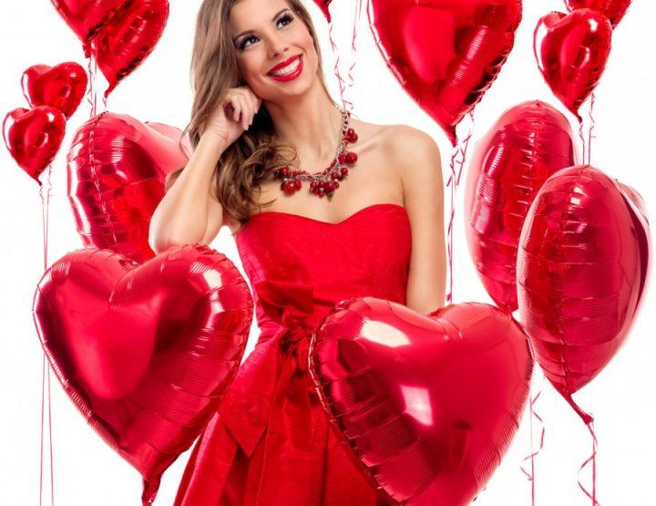 Balões em formato de coração