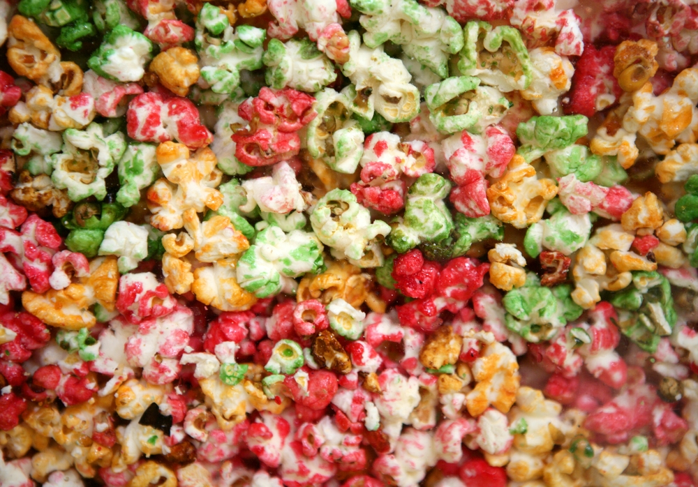 multi color children sweet pop corn macro texture